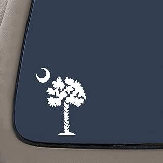 Palmetto Tree South Carolina Decal   Premium Quality White Vinyl Decal   5.5-Inches Tall   Car Truck Laptop Window Wall SUV Van Decal   NI663