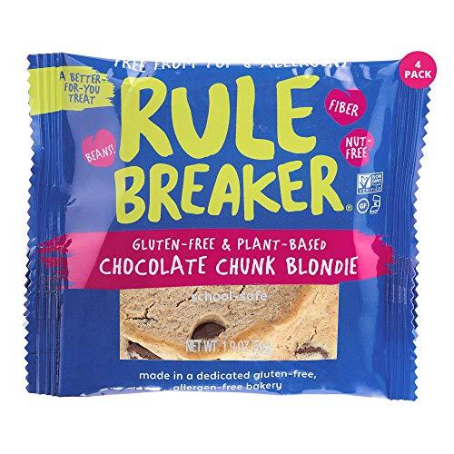 Rule Breaker Snacks, Chocolate Chunk Blondie, Vegan, Gluten Free, Nut Free, Allergy Friendly, Kosher, Individually Wrapped 1.9oz Cookies (4 Blondies)