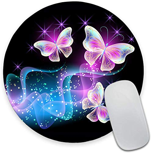 """Round Mouse Pad, Glowing Night Pink Butterflies Mouse Pad, Animal Gaming Mouse Mat Waterproof Circular Small Mouse Pad Non-Slip Rubber Base MousePads for Office Home Laptop Travel, 7.9""""x0.12"""" Inch"""