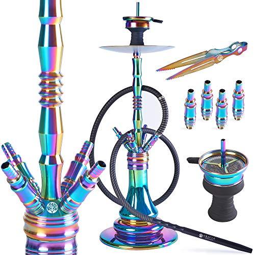 ORACLE HOOKAH® Rainbow Shisha Set V2A Regenbogen Edelstahl Wasserpfeife 72cm 4 Anschlüsse mit Zubehör wie Schlauch Kopf Alu Mundstück (Shisha Set inkl. [1 Schlauch / 1 Mundstück])