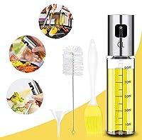 teezershop - spruzzatore di olio con scala, per cucinare 4 in 1, bottiglia di olio e aceto ricaricabile con pennello da forno, spazzola per bottiglie e imbuto per olio.
