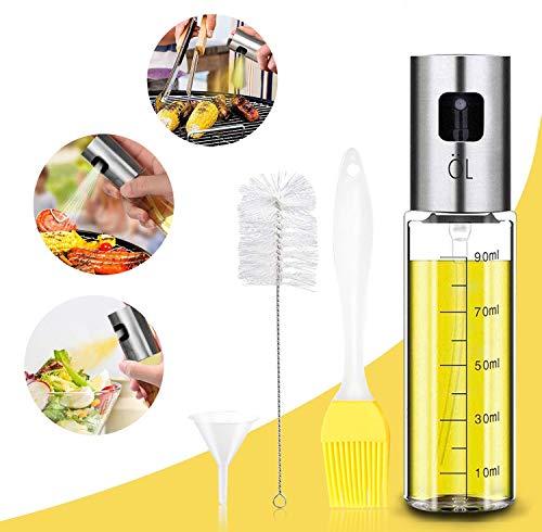 tEEZErshop - Pulverizador de aceite para cocinar 4 en 1, rellenable, dispensador de aceite y vinagre, botella con pincel para hornear, cepillo para botellas y embudo de aceite
