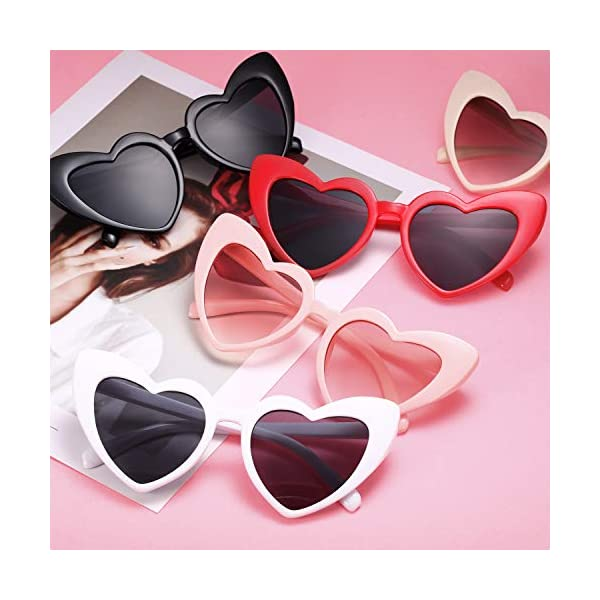 Heart Shaped Sunglasses Vintage Heart Sunglasses Women Retro Eyeglasses for Shopping Traveling Party Accessories