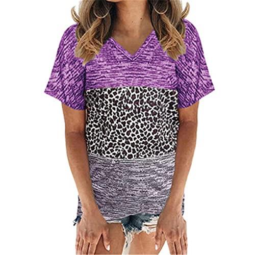 PRJN Camiseta Suelta de Manga Corta de Verano para Mujer Camisetas a Juego de Colores Camisetas para Mujer Camisetas Camisetas de Manga Corta Camisetas con Cuello en V a Juego de Colores