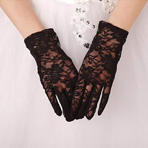 Guantes de novia para novia, guantes clásicos de encaje corto, longitud de muñeca corta para vestido de fiesta o boda, color negro