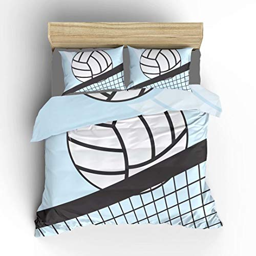 Aluy's boutique Double-Sided Abstract Volleyball in Net Soft Bedding Duvet Cover Set, Twin Size 2 Pieces with 1 Duvet Cover and 1 Pillowcase, Best Gift for Kids, Boys, Girls