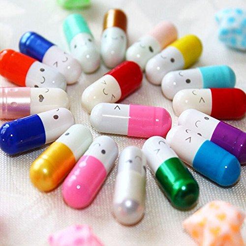 DatingDay 200 Pcs Message in a Bottle Capsule Letter Cute Love Friendship Half Color Pills