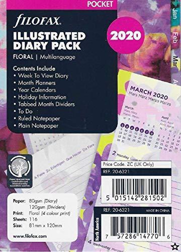 Filofax Kalendereinlage Pocket Illustrated Diary Floral 1 Woche auf 2 Seiten (mehrsprachig) 2020