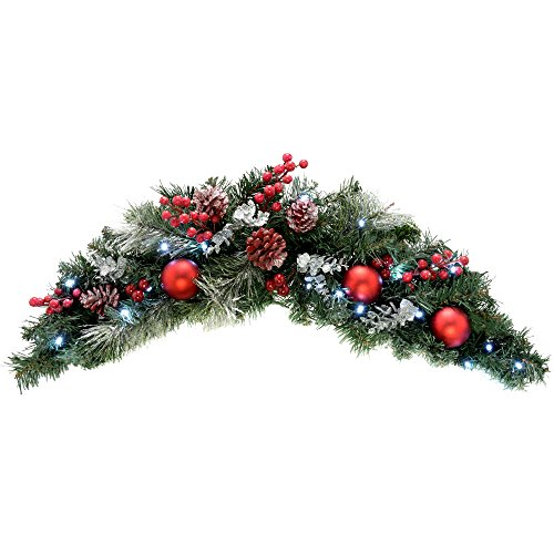 WeRChristmas Pre-Lit Decorated Arch Garland Illuminated with 20 Cool White LED Lights, 90 cm - Frosted