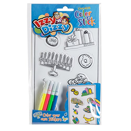Izzy 'n' Dizzy Hanukkah Color and Stick - Color Your Own Stickers - Includes 4 Markers - Hanukah Arts and Crafts - Gifts and Games