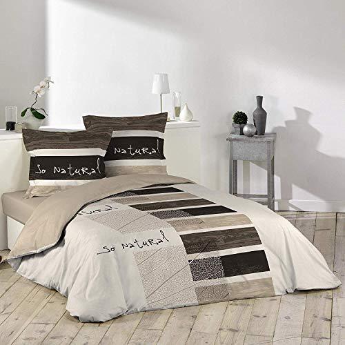Douceur D'Intérieur - Juego de funda nórdica y 2 fundas de almohada, algodón, Estampado, 200 x 200 cm