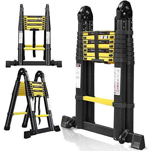 Hengda 5M Escalera Telescópica Multiusos de Aluminio Portátil 2.5+2.5M Escalera Multifunción, Extensible, 8+8 Peldaños Soporta Hasta 330 lb / 150 kg para Trabajo en Interiores y Exteriores - Negro