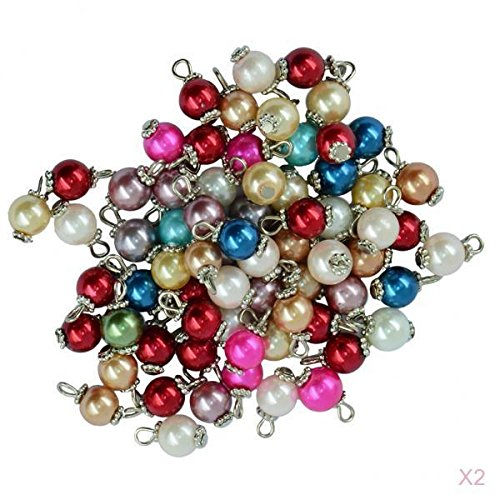joyMerit 100 Piezas de Abalorios de Perlas de Colores Surtidos, Colgante de Aro de de Plata, Abalorios, Abalorios Sueltos, Margaritas Planas, para Pendie