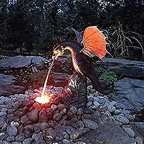 Statue Springbrunnen Drache Wassersprühdrache während Tages und Feuerspeiender Drache Nacht Fein Harzdrache Farbbrunnen Gotischer Garten Deko Statue Ornamente DIY Garten Kunst Dekoration 35X30X23CM