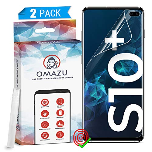 OMAZU 3D Flex Panzerfolie TPU Schutzfolie [2 Stück] compatibel mit Samsung Galaxy S10 Plus - Hüllenfreundlich - Fingerabdruck kompatibel - Anti Kratzer Displayschutz- HD transparant – Kein Glas