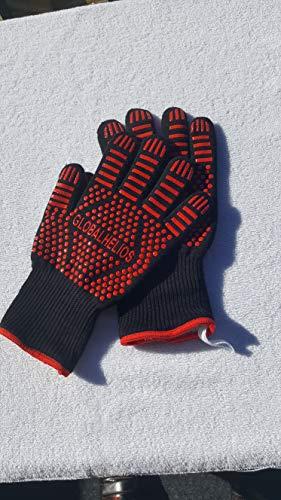 Globalhelios Ausverkauf, Backhandschuhe, Grillhandschuhe rot, rutschfeste Silicon Backhandschuhe, Ofenhandschuhe, hitzebeständig bis 500°C angenehmer Schutz vor Hitze Extra Langen Armschutz