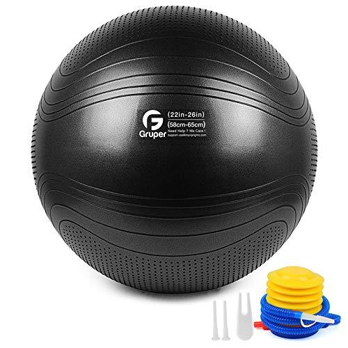 Gruper Yoga Stabilitätsball–Extra dicker Gymnastikball für Fitness Balance Workout–Anti-Burst Stuhl für Zuhause und Büro Schreibtisch–inkl. Handpumpe und Workout Guide Zugang(Schwarz,65cm (26 inch),L)
