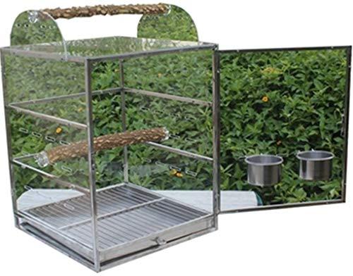 Gabbia per uccelli durevole e rispettosa dell'ambi Gabbia di volo per parrocchet gabbie per uccelli per parrocchetti, gabbia di pappagallo acrilico per giardino, viaggi Trasparente gabbia per uccelli,