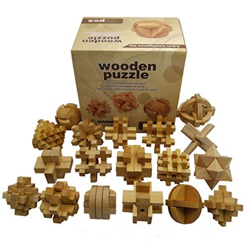 Gracelaza 18 Piezas Juguetes Rompecabezas de Madera Caja Set - IQ Juguete Educativo - 3D Brain Teaser Puzzle de Madera - Juego Niños y Adolescentes