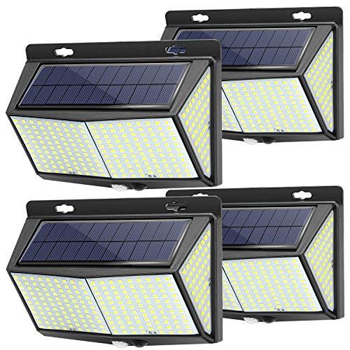 Solarlampen für Außen Bewegungsmelder Aussen, 288 LEDs Solar-Solarleuchten, IP65 Wasserdichte LED Solarleuchten Außen, Solar wandleuchte Aussen mit 3 Optionalen Modi und 4 Weitwinkel - 4 Pcs