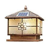 MCBODOG Iluminación exterior Faros de columnas solares Luces de pared LED a prueba de agua Luces de jardín retro Luces de poste de puerta al aire libre Luces de jardín al aire libre Luces de jardín de