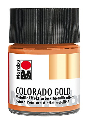 Marabu 12640005787 - Metallic Effektfarbe, Colorado Gold, auf Wasserbasis, lichtecht, wetterfest, schnell trocknend, zum Pinseln und Tupfen auf saugenden Untergründen, 50 ml, metallic kupfer