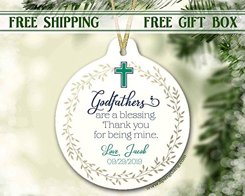 Godfather Ornament, Godfather Gift, Gift for Godfather, Gift from Godchild, Gift for Godfather, Baptism, Baptism Keepsake, Thank You, 3 Inch