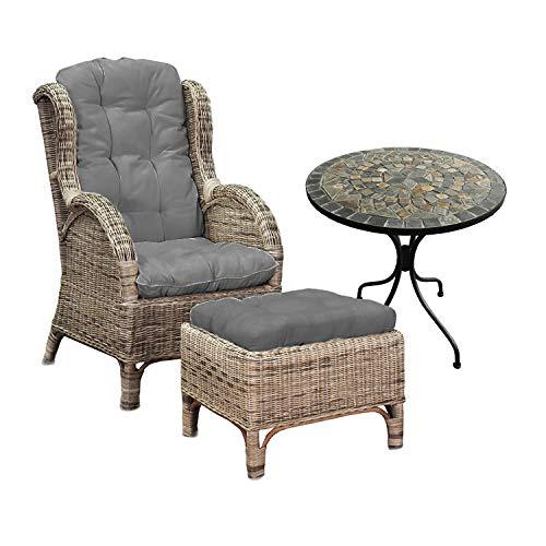 Sillón de relax de ratán con taburete, sillón de ratán, sillón con reposapiés de ratán, incluye cojín en gris y 1 mesa de mosaico