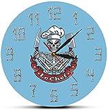 Dengjiam Schädel Kochen Moderne Wanduhr Uhr Skelett Mit Koch Hut Messer Hackmesser Französisch Restaurant Küche Dekor Lustige Koch Geschenk 30 X 30 cm