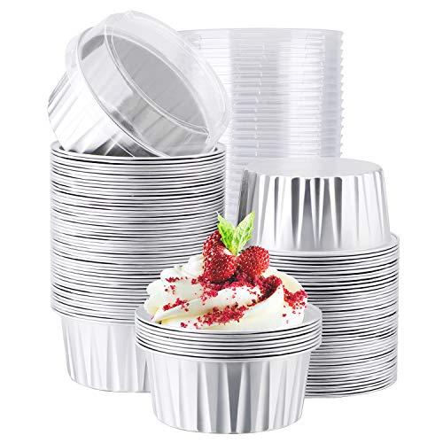 Eusoar 使い捨てラメキン 5オンス 125ml カップケーキマフィンライナーカップ 蓋付き クリームブルレーラメキン アルミホイルケーキベーキングカップホルダー ベーキングセール 包装 デザートパン ケースボックス 100個 FBA560178