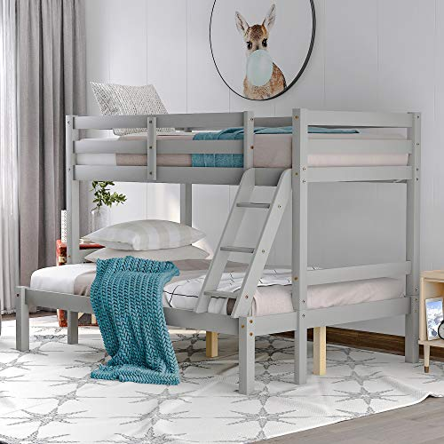 Merax Twin Over Full Bunk Bed, Solid Wood Bunk Loft Bed Frame with Guardrail and Removable Ladder, Can be Separated into 2 Beds (Grey)