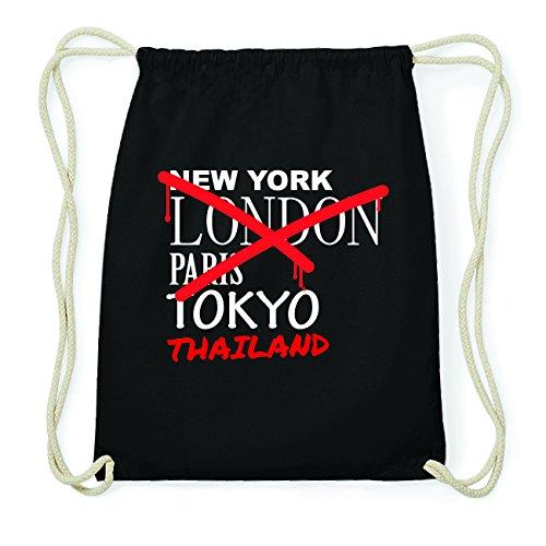 JOllify Thailand Hipster Turnbeutel Tasche Rucksack aus Baumwolle - Farbe: schwarz – Design: Grafitti - Farbe: schwarz