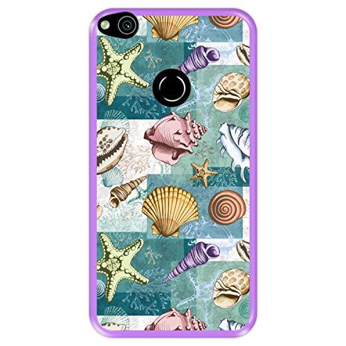 Funda Morada para [ Huawei P8 Lite 2017 - P9 Lite 2017 - Nova Lite ] diseño [ Patrón con Conchas, corales y Estrellas de mar ] Carcasa Silicona Flexible TPU