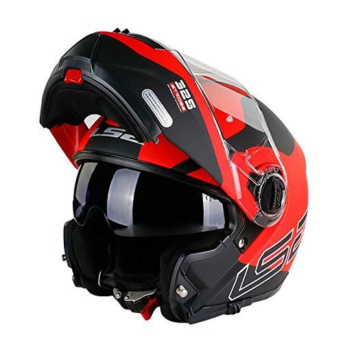 MYSdd Klappbarer Motorradhelm Modularer Helm Schnelle und einfache Schnalle Das vollständig abnehmbare Innenfutter hält die Innenseite des Helms sauber und geruchsneutral - 14 Matte Red Super X XXL