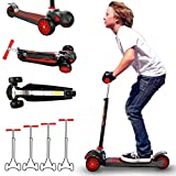 MOBIUS Toys Scooter for Kids, Maxi Foldable Kick Scooter Deluxe, Handlebars adjustability from Age 5-12, Surface-Safety Balance Technology, 2' Width x 3 Wheels