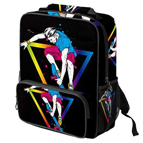 TIZORAX Bolsa escolar para niñas y niños, bolsa de libro elegante patinadora...