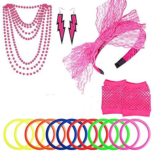 Juego de 5 diademas de encaje para pendientes, guantes, diseo de lunares, estilo retro, punk, accesorios de disfraz, para fiesta de 80 's (rosa)