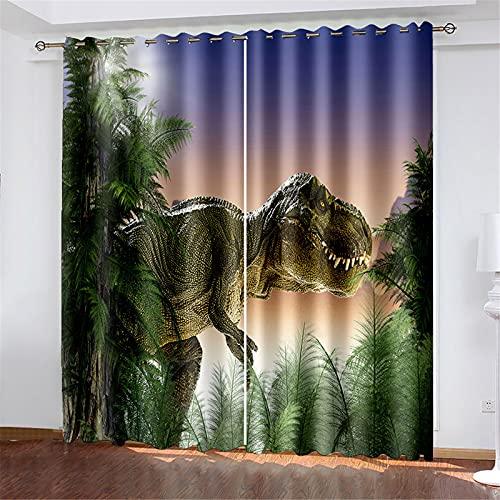 FACWAWF Cortina De Patrón De Dinosaurio 3D, Dormitorio, Sala De Estar, Hotel, Apartamento, Cortina De Poliéster W150xH166cm(2pcs)