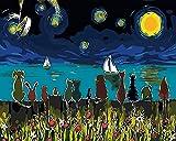 YUHHGFK Pintar por Numeros Cielo Estrellado Azul Pintura al óleo de Bricolaje con Pinceles y Pinturas - para Adultos, niños y Principiantes Decoración del hogar - 40 X 50 cm (con Marco de Madera)