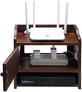 Caja de Almacenamiento de enrutador inalámbrico, Caja de Almacenamiento de Madera, Cable de Enchufe de Cable de alimentaci...