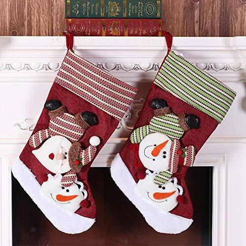 Kerstkousen, Kerstkousen, set van grote Kerstmis, set van 2 pakken, oude rode sokken en groene zij-sneeuwpopsokken, maat 22 * 28 * 46Cm