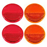 Qty 4 (2 Red/2 Amber) - 2' Inch Round Reflector Bike,Trailer, Truck, Boat, Mailbox, Construction, Signage, Warning with Super Strong Adhesive DOT/SAE Approved
