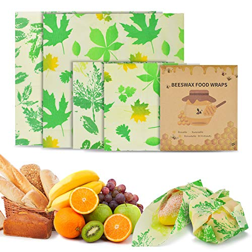 BROTOU Bienenwachstücher Wachspapier, 4er Set Wiederverwendbare Bienenwachstücher für Lebensmittel Kunststofffreie Lagerung von Käse, Obst, Brot Grün