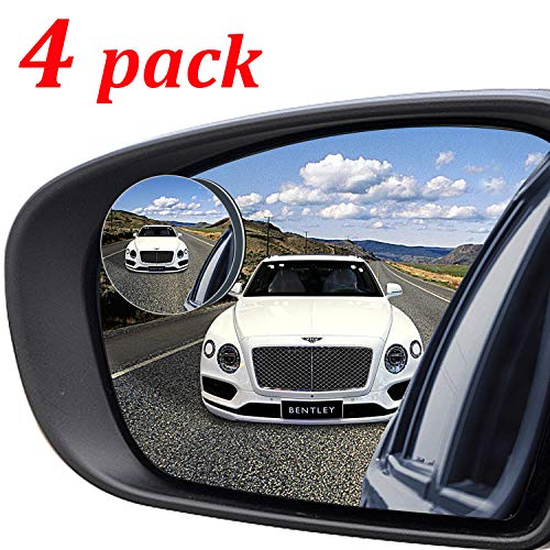 """Kribin 4 Pack Blind Spot Mirror, 2"""" Round HD Glass Frameless Convex Rear View Blind Spot Mirror Stick On with 360° Rotation Adjustable for SUV Car Auto"""