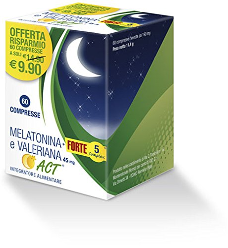 Linea ACT - Melatonina ACT+ Forte 5 Complex - Integratore Alimentare a base di Melatonina - 60 compresse