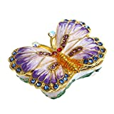 Butterfly Trinket Box Hinged Small Jewelry Bejeweled Trinket Boxes Figurine Collectible Gift (trinket box ii)