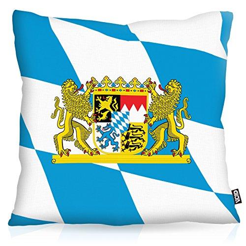 VOID Bayern Bavaria Polyester Kissenbezug Flagge Fahne Fan-Kissen Kissenhülle Outdoor Indoor Bunt, Kissen Größe:40 x 40 cm