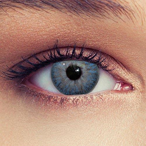 Designlenses farbige Kontaktlinsen in blau weiche natürliche Monatslinsen True Sky mit Stärke -0,50