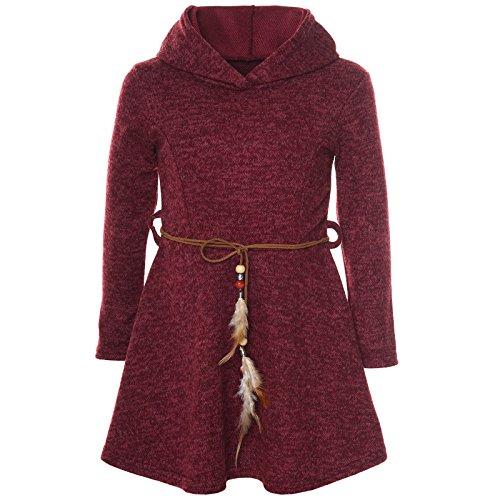 BEZLIT Mädchen Kleid Kostüm Kapuze Peticoat Festkleid Langarm 21578 Bordeaux Größe 128