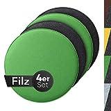 Sidorenko comodo cuscino di feltro rotondo Ø 36cm - Set di 4 cuscini per sedia grigio I verde - Cuscino lavabile per sedia a conchiglia Eames - Comodo coprisedile per panca I sedia